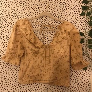 Free People Pink Gold Flower Peasant Blouse